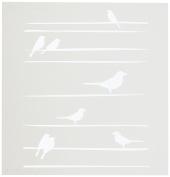 Stencil1 S1_01_103_S Birds Straight Lines Stencil, 15cm by 15cm , White