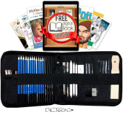 Sketching and Drawing Pencils Professional Art Set 33 Pieces Essential Graphite Charcoal Tool Kit for Artist
