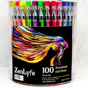 ★ 244 Pieces 100 Colour Gel Ink Pens + 144 Refills Extra Large Set ★ Glitter Metallic Neon Pastel Earth Tone Brown White Sakura Pink ★ Art & Adult Colouring Books ★ Be Smart Replaces 36 48 60 200 Sets ★