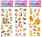 3 Sheets Puffy Dimensional Scrapbooking Party Stickers-FREE USA SHIPPING - CATS KITTENS