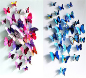 24pcs Purple & blue 3d Butterfly Stickers, Wall Stickers Crafts Butterflies, Wall Decoration, Fridge Magnet