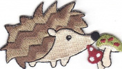 ANIMALS-HEDGEHOG w/MUSHROOMS-Iron On Embroidered Applique Patch/Cute Critters