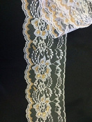 5 Yards, White with Metallic Gold Threading Raschel Lace Trim, For Invitations, Garments, Crafts, 11cm Wide
