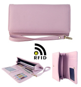 Womens RFID Blocking Wallet Classic Clutch Leather Long Wallet Card Holder Purse Handbag