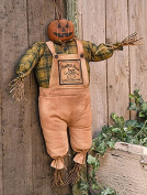Stuffed Fabric Pumpkin Patch Jack Scarecrow - Primitive Country Fall Seasonal Doll Decor