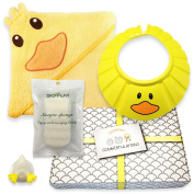 Gentle Care - Baby Bath Gift Set - Soft 100% Cotton Hooded Bath Towel + Natural, Hypo-allergenic Konjac Sponge + Adjustable Foam Shampoo Cap + Beautifully Packaged