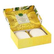 Michel Design Works Double Soap Bars & Glass Soap Dish, Lemon Basil
