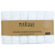 6pcs 100% Bamboo Baby Washcloths - NO DYES Super Soft & Absorbent Bath Towels 25cm x 25cm - by Marque