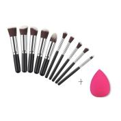Gotd 10PCS Cosmetic Makeup Brush Set +1 PC Sponges
