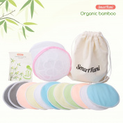 SmartFami Washable Organic Bamboo Nursing Pads(12 Pack) with Laundry and Cloth Bag, Prevent Embarrassing Leaks, Reusable, Ultra Soft, Super Absorbent, Durable, Hypoallergenic.