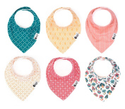 Baby Bandana Drool Bib Gift Set for Girls 6 Pack - The Monaco Collection