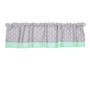 Grey and Mint Green Arrow Print Cotton Window Valance by The Peanut Shell
