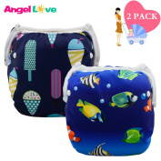 Baby Swim Nappies(Pack of 2),Christmas gifts, Reusable One Size, Adjustable, Swimming nappy, Washable Unisex Fits Babies 0-2 Years