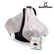 Baby Car Seat Cover, 100% Cotton Canopy / Swaddle , Unisex, lightweight, Breathable, Fits All Seats With hook and loop Straps. Perfect Present For Baby Boys & Girls. Ebook Healthy Baby