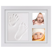 Baby Keepsake Gifts, PChero Baby Handprint and Footprints Frame Wood Frames Kit with Safe Acrylic Glass and Clay, Preserves Priceless Memories for Baby Shower Decorations & Registry - [White]
