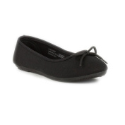 Lilley Girls Black Canvas Ballerina with Bow
