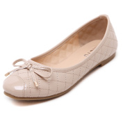 Smilun Lady Ballerina Ballet Flat Loafer Checked Cover Sequined Bow Tie