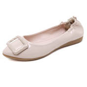 Smilun Lady Ballerina Flat Square Buckle Ultra-Soft Elastic Heel Cover