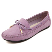 Smilun Lady Boat Shoes Flat Moccasins Bowknot Sequined Suede Loafers