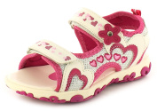 New Younger Girls/Childrens White Touch Fastening Adventure Sandals. - White/Pink - UK SIZES 6-13