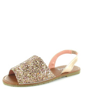 KIDS INFANTS MENORCAN SLING BACK PEEP TOE FLIP FLOP GLITTER SANDALS SHOES SIZE 10-2
