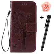 iPhone SE Bling Wallet Case,Tebeyy Slim Premium [Leather Wallet],Flip Book Cover with Kickstand,[Magnetic Closure],[Card Slots],for iPhone 5/5S/5SE,Luxury Bling Diamond Rhinestone Elegant Pressed Butterfly Rose Flower Design Genuine Pu Leather Pouch Pr ..