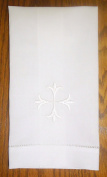 White Linen Baptism Cloth with Cross, 36cm X 60cm