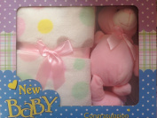 Ideal Gift For New Born Baby Pink Fleece Blanket With Teady Bear By Snuggling Nights®