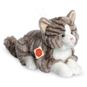 Lying Grey Cat Plush Soft Toy by Teddy Hermann.30cm. 91821