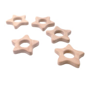 Coskiss 5pcs Wooden Stars Teethers Rings Handmade Wooden Toys DIY Pendent Set