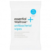 Antibacterial Wipes essential Waitrose 15 per pack