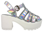 Girls Leather Look Low Platform Silver Buckle Fashion Shoes 10-3