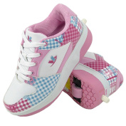 Ladies Girls Boys Mens Retractable Wheel Roller Skating Wheelie Trainers Shoes Size