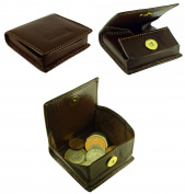 Ladies Mens Top Quality Leather Coin Tray Purse With Magnetic Fastener in 3 Colours