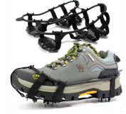 2 pairs Outdoor Ice Non Slip Shoes Snow Ice Studs Grips Spikes Cleat Crampons Over Shoe Covers