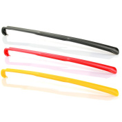 telmo Plastic Shoehorn, approx. 65 cm long - Pack of 3 Different Colours