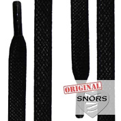 SNORS - Shoelaces - WAXED FLAT LACES, ca. 5mm, BLACK, flat