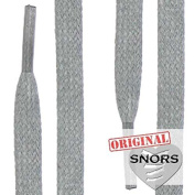 SNORS - Shoelaces - WAXED FLAT LACES, ca. 5mm, LIGHT GREY, flat