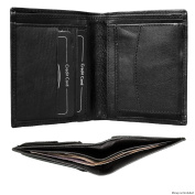 High Quality Men's Genuine Designer Leather Pocket Wallet By Bon Goût in Cognac (Brown) Leather and Black Leather With Coin Pocket / Coin Purse and Stylish Removable Credit Card Holder