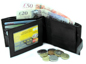 RAS® MENS HIGH QUALITY LUXURY SOFT LEATHER TRI FOLD WALLET CREDIT CARD SLOTS, ID WINDOW AND COIN POCKET