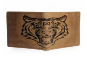 Unique Tiger Embossed Real Leather 12 Cardholder Mens Trifold Wallet By Corder London