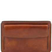 Tuscany Leather Denis - Exclusive leather handy wrist bag for man Honey