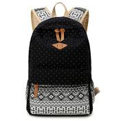 JSbetter Canvas Backpack,Dot Casual Lightweight Fashion Women Girl School Backpacks Vintage Travel Satchel Rucksack College Shoulder School Bag for Teen Girls,Black