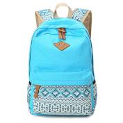 JSbetter Canvas Backpack,Dot Casual Lightweight Fashion Women Girl School Backpacks Vintage Travel Satchel Rucksack College Shoulder School Bag for Teen Girls,Light blue