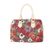 Signare Womens Tapestry Fashion Handbag Bowling Barrel Bag Pansy Design