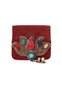 Maroon Suede Coin Pouch by Meera Mahadevia