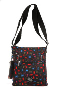Printed Multi Pocket Nylon Cross Body Bag