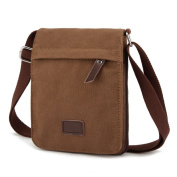 Moonsister Retro Casual Men Women Small Canvas Shoulder Bag, Crossbody Sports Bycicle Leisure Travel Bag, Brown