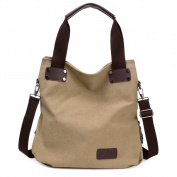 Moonsister Simple Casual Large Capacity Canvas Shoulder Bag for Women Girls, Crossbody Travel Beach Tote Bag Handbag, Beige