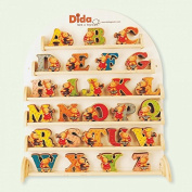 Dida - Letters in wood Exhibitor. 156 pcs